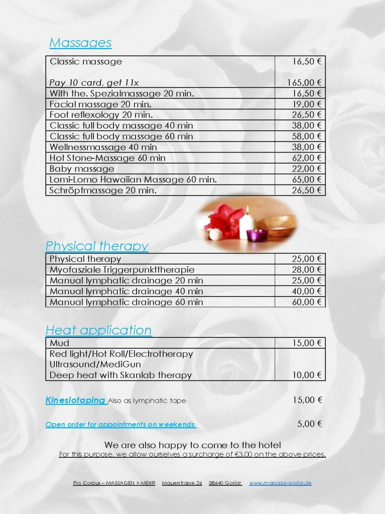 Massages Price List AKZENT Hotel Villa Saxer Goslar En